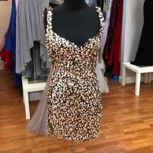 Chocolate-beige prom dress with large sequins